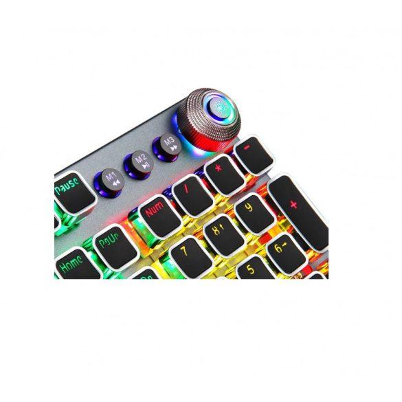 AULA F2088 tastatură gamer profesională programabilă - taste mecanice, comutator maro 108 taste, iluminare LED RGB, conexiune prin cablu