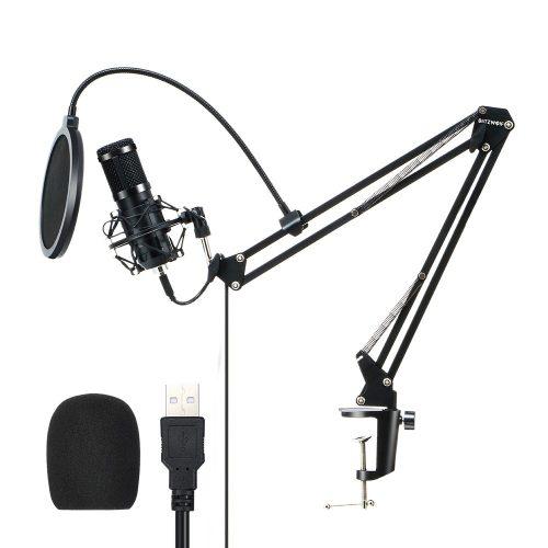 BlitzWolf BW-CM2 - Microfon condensator USB + filtru pop + braț suport microfon