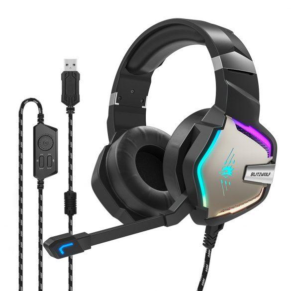 7.1 Cască Surround Gamer - BlitzWolf BW-GH1; LED RGB, reducere a zgomotului, design ergonomic