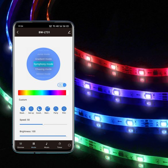 Benzi LED inteligente BlitzWolf® BW-LT31 - 5m / 10m lungime, telecomandă cu aplicație și IR, mod muzică, diverse efecte de lumină