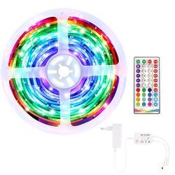 Benzi LED inteligente BlitzWolf® BW-LT33 - 5m lungime, telecomandă cu aplicație și IR, mod muzică, diverse efecte de lumină