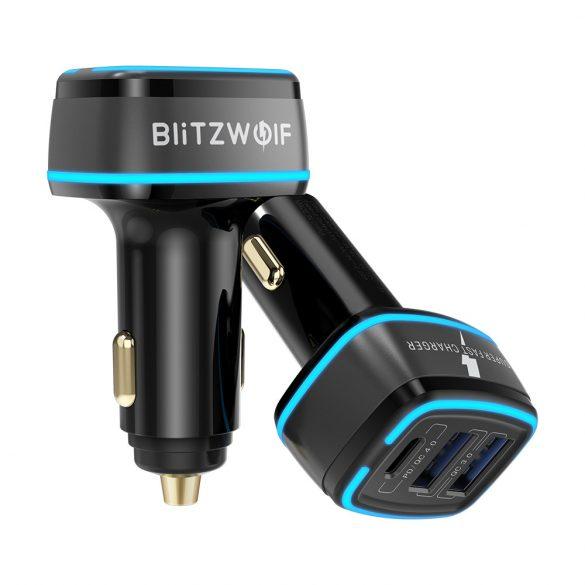 Încărcător auto BlitzWolf® BW-SD7 - 30W  2xQC4.0 + 1x PD tehnologie de încărcare rapidă, iluminare LED