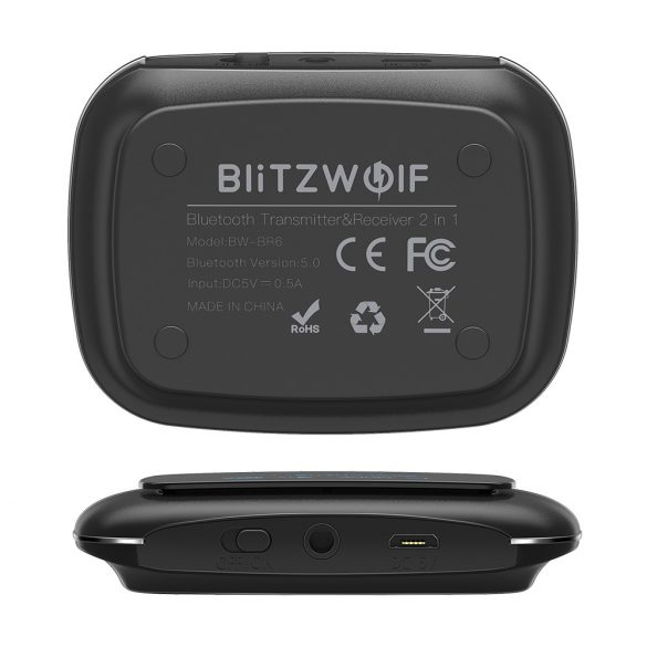BlitzWolf® BW-BR6 bluetooth V5.0 (aptX Low Latency for Bluetooth®) Transmițător HD pentru receptoare de muzică Adaptor audio 2 în 1