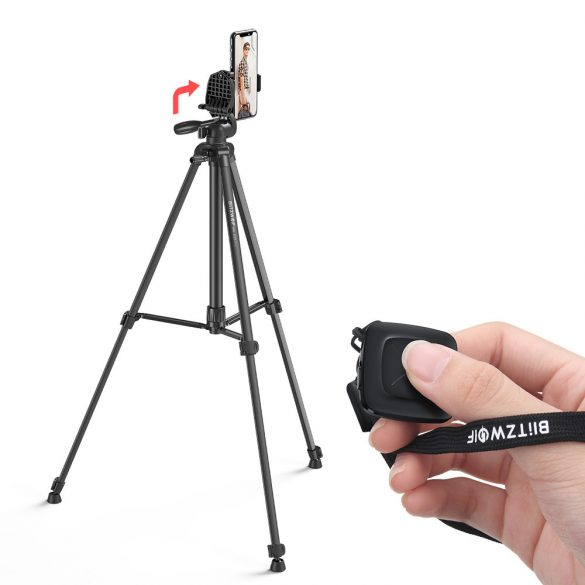 """BlitzWolf® BW-BS0 Pro Trepied stabil cu telecomandă bluetooth cu clip de telefon de 1/4 """"detașabil pentru smartphone-uri pentru camere - Negru"""
