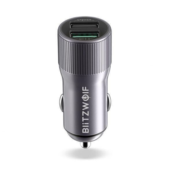 BlitzWolf® BW-SD2 30W QC3.0 2.4A Port USB dual Dual încărcător auto pentru iPhone XS Xiaomi Mi8 Pocophone F1 - Gri