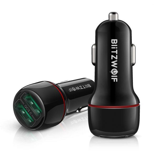 Încărcător auto BlitzWolf® BW-SD5 25W 2xQ3.0 cu tehnologie de încărcare rapidă, iluminare LED