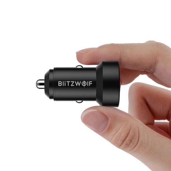 Încărcător auto 24W BlitzWolf® BW-SD6 cu tehnologie de încărcare rapidă 1xQ3.0 și 1xQ2.0, cu afișaj anterior