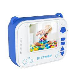 Blitzwolf BW-DP1 - Aparat foto pentru copii și imprimantă instantanee într-una: 1080P, 30fps, filtre etc. - albastru