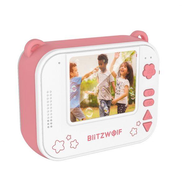 Blitzwolf BW-DP1 - Aparat foto pentru copii și imprimantă instantanee într-una: 1080P, 30fps, filtre etc. - roz