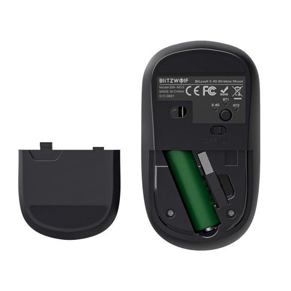 Mouse wireless Blitzwolf BW-MO3 - Bluetooth + 2,4 GHz fără fir, 2400DPI - argintiu