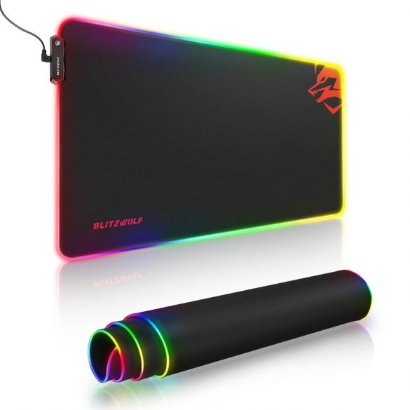 Blitzwolf BW-MP1 - Impermeabil, iluminat RGB, mouse anti-alunecare cu 10 efecte luminoase diferite, dimensiune: 800x400x5