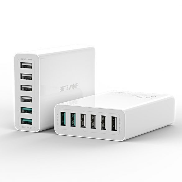 BlitzWolf® BW-S15 QC3.0, încărcător USB inteligent pentru birou de 6 porturi cu 6 porturi inteligent 60W