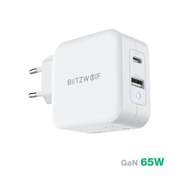 BlitzWolf® BW-S18 - Tehnologie de încărcare GaN Quick Charge: PD3.0, 65W, adaptor de alimentare (1x USB-C + 1x USB-A)