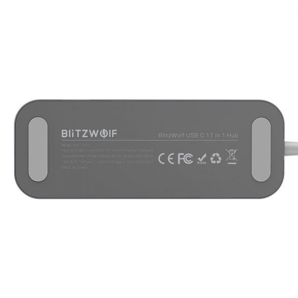 Blitzwolf BW-TH11 Hub 11 într-unul: 2x port HDMI, 100W, USB 3.0, cititor de card SD, VGA, mufă, port LAN