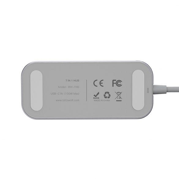 BlitzWolf® BW-TH5 Hub de date USB-C 7 în 1 cu cititor de carduri USB TF cu 3 porturi, HDMI, încărcare USB-C PD