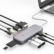 Blitzwolf BW-TH8 Hub 11 în unul: 100W, port USB 3.0, cititor de carduri SD, 4K HDMI, VGA, Jack, port LAN