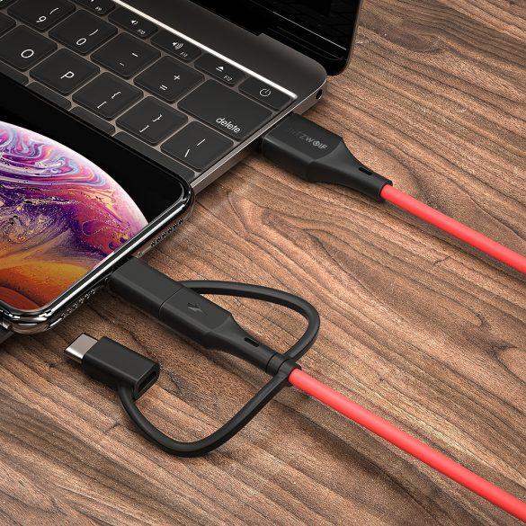BlitzWolf® BW-MF4 3in1: Type C, Apple Lightning, Micro USB Cablu