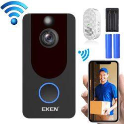 Interfon video inteligent EKEN V7 1080P -Wifi cu control al aplicației + baterie + clopoțel interior
