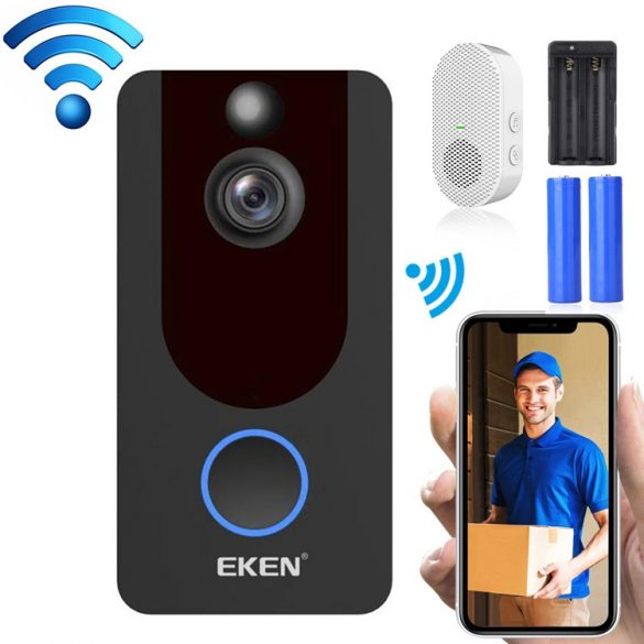 Interfon video inteligent EKEN V7 1080P -Wifi cu control al aplicației + baterie + clopoțel interior