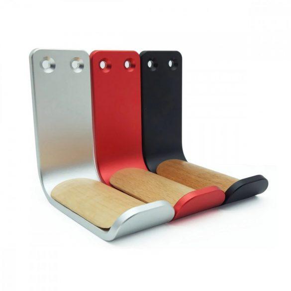Suport pentru căști, montat pe perete - aluminiu - negru, roșu