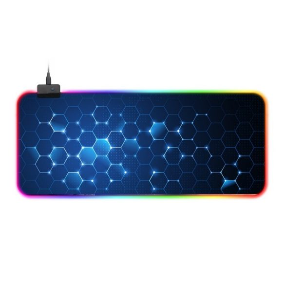 Mouse pad impermeabil iluminat RGB - cu 14 efecte de lumină diferite, dimensiune: 800 x 300 x 4 mm (fagure de miere)