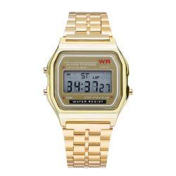Ceas retro cu cuarț - culoare aur, design impermeabil (IP44), carcasă din oțel inoxidabil