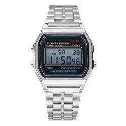 Ceas retro cu cuarț - culoare argintie, design impermeabil (IP44), carcasă din oțel inoxidabil