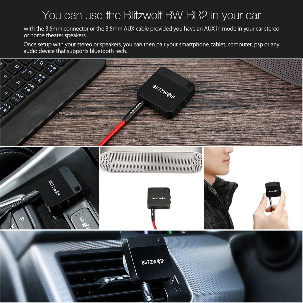Blitzwolf BW-BR2 Bluetooth reveiver and transmitter